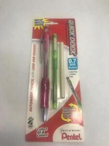 Pentel Quick Dock Colors 0.7mm Medium Pink Barrel, Green Dock - Quantity: 2 (...
