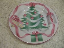 "4 Sango Home for Christmas Salad Plates 7 3/4"" Christmas Tree Center Pink Trim"