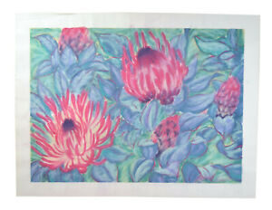 Huge Cheerful Pastel Drawing #5 Red Protea Tropical Flowers McGeeney California