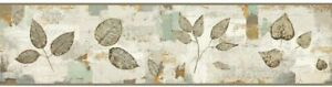 Pressed Leaves with Teal, Rust & Putty on Sure Strip Wallpaper Border BP8345BD