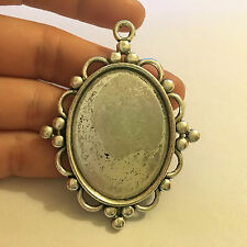6 large oval setting blanks picture photo frame pendant Tibetan silver UK -78
