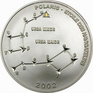 Congo 2002 Polaris Crystal Star 10 Francs Silver Coin,Proof