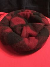 BETMAR Vintage Beret Cabbie Hunters Hat Cap Plaid Burgundy Black Wool #3148