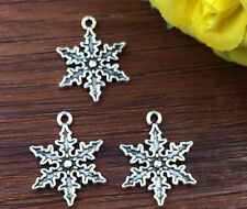 6pcs Christmas Snow Tibetan Silver Bead charms Pendants DIY jewelry 25x18mm