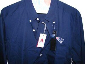 "New England Patriots + Men L Blue Button Shirt + ANTIGUA ""NFL Apparel - Dynasty"""