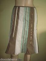 Sandwich ~ Brown Green Mix Striped Flippy Knee Length Cotton Skirt ~ Size 12 38