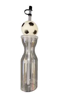 Clear BPA Free Sport Water Drink Bottle Football Flexi Straw Xmas Birthday Gift