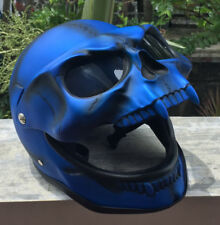 Motorcycle Helmet Skull Skeleton MONSTER Ghost Visor Shield Full face 3D Blue