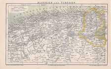 Algerien Tunesien Sahara alte LANDKARTE von 1882 Kleine Syrte
