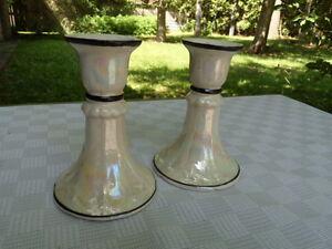 Vintage Czechoslovakian Embossed Ivory Porcelain  Iridescent Candlesticks