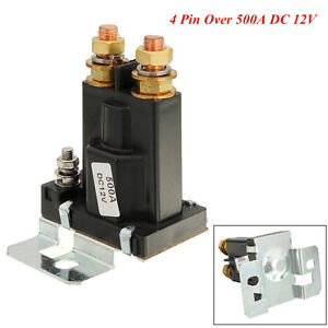 Car SUV Black 4 Pin 500A 12V AMP Dual Battery Isolator Relay On/Off Power Switch