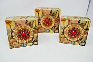 Punch Studio Paris Eiffel Tower Gift Storage Boxes Jewel Brooch Top 3pc  NEW