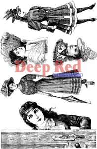 Deep Red Stamps Victorian Ladies Rubber Cling Stamps