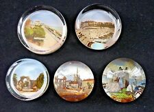 FIVE EDWARDIAN GLASS SCENIC PAPERWEIGHTS ENGLISH AND WELSH LANDMARKS