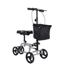 Steerable Foldable Knee Walker Black Scooter Turning Brake Basket Drive Cart