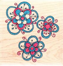 TRIPLE FLOWER - Wood Mounted Rubber Stamp - Lindsay Mason/Personal Impressions
