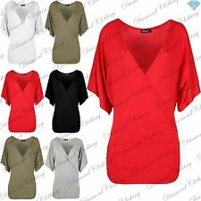 V Neck 3/4 Sleeve Wrap Tops & Shirts for Women