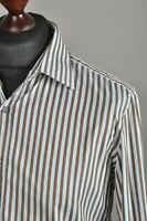 Men's PAUL SMITH Casual Shirt Cotton Brown Striped Long Sleeve Cufflinks Size 41