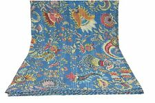 Queen Kantha Quil Indian Floral Printed Bedspread Cotton Handmade Blue Blankets