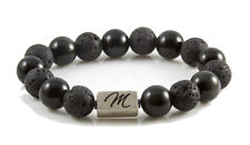 mixed black gemstone bracelet large 12mm sterling silver bead obsidian lava rock