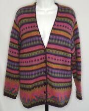 Vintage United Colors of Benetton Womens XL Cardigan Mohair Wool Rainbow Aztec