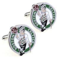 BOSTON CELTICS CUFFLINKS Sport Team Logo Basketball NEW w GIFT BAG Groom Wedding