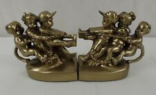 P M Craftsman Tug of War Bronze or Brass Book Ends heavy