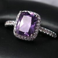Gorgeous Purple Amethyst Ring Women Jewelry Wedding Engagement Anniversary Gift