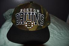 Reebok NHL Boston Bruins Camo Flat Brim Snapback Fit Hat Cap New