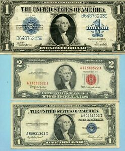 1923 $1 LARGE SIZE SILVER CERTIFICATE, 1935-E $1 $ 1963 $2 !!!!..STARTS@ 2.99