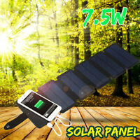 7.5W USB Foldable Solar Panel Portable Power Bank Phone External Battery