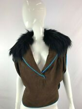 New MAXAZRIACollection Womens Brown Faux Suede Black Fur Collar Oversized Blouse