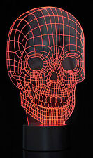 3D Optical Illusion LED Skull 7 Color Changing Light Night USB Lamp Touch Switch