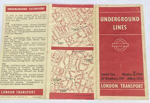 1939 ORIGINAL LONDON UNDERGROUND LINES TUBE POCKET MAP NUMBER 2 HARRY BECK WWII