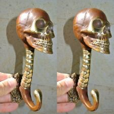 "2 SKULL head 7"" long WALL HOOK heavy BRASS old style look SCREW wall hang B"
