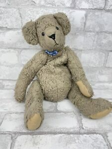 """Vintage Antique 1940-50 Jointed Well Worn Loved Gray Teddy Bear w/ Felt Paws 16"""""""