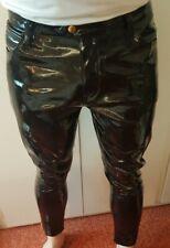"Black Vinyl Jean PVC Trousers Mens Wetlook Shiny 34"" Pants Glanz Gay Lads Int"