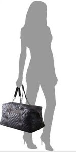 """$550 Tory Burch """"Alice"""" Black Quilted Leather Nylon Weekender Traveler Gym Bag"""