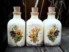 Shabby chic perfume bottles 100 ml, cork top, handmade, apothecary - Pink floral