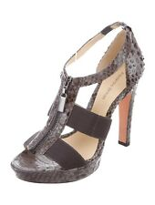 Alexandre Birman Women's Shoes 8 Gray Snakeskin Leather Cage Sandals High Heels
