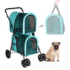 Folding Double Dog Stroller Pet Jogging Stroller Cart Detachable Carrier 4 Wheel