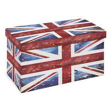 Boîte pliable Union Jack avec couvercle tabouret 76 x 38 x 38 cm