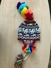 PERUVIAN CHULLO HAT WITH BEADS MULTICOLOURED RAVE FESTIVAL  HAND MADE ^7