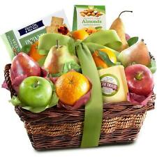 Classic Fresh Fruit Basket Gift with Crackers, Cheese and Nuts for Christmas,
