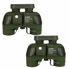2pcs 7x50 Military Waterproof Floating Marine Binoculars W/Rangefinder & Compass