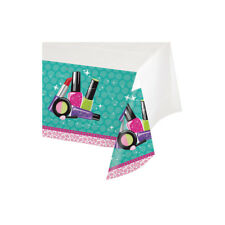 Sparkle Spa Birthday Party Tablecover 54 x 102 Beauty Makeup Icons Border