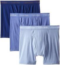 $65 CALVIN KLEIN UNDERWEAR MENS BLUE CK U3019 COTTON 3-PACK BOXER BRIEFS SIZE S