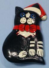 Vintage Wooden Cat Christmas Pin Brooch