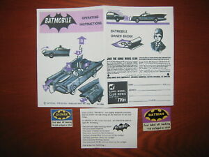 Corgi Batmobile 267 instruction sheet ,leaflet paper & pink & blue badges copies