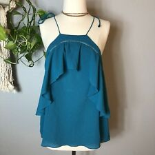 Ella Moss Women's Blouse Top Spaghetti Strap Ruffled Casual Teal Small
